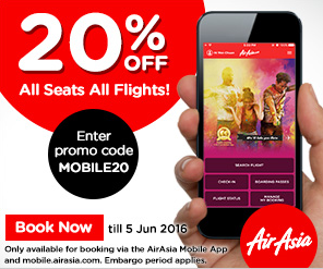 AirAsia offers 20% discount exclusively on Mobilebookings